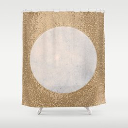 Avalon - Minimal Abstract Golden Moon Shower Curtain