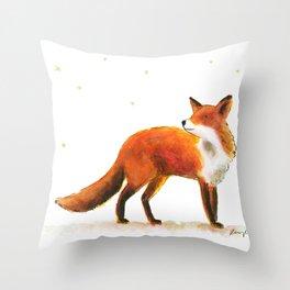 Fox & stars Throw Pillow
