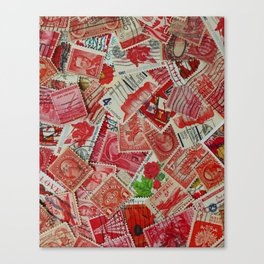 Vintage Postage Stamp Collection - Red Canvas Print