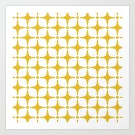 Mid Century Modern Star Pattern Yellow Art Print