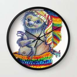 Sloth in a Sock Wall Clock