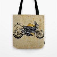 ducati Tote Bags featuring Ducati Streetfighter 848, 2012 by Larsson Stevensem
