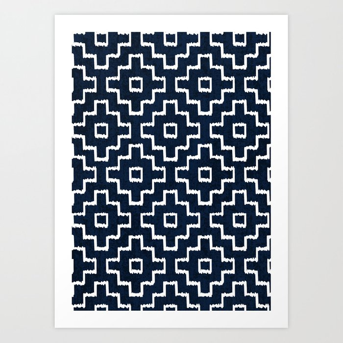 Blue Geometric Pattern Art Print