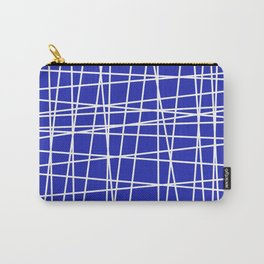 Blue and White Lines Carry-All Pouch