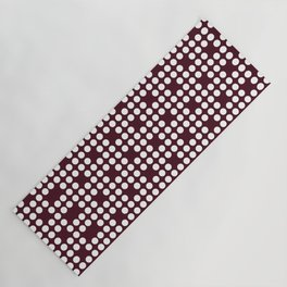 White dots on burgundy red Yoga Mat