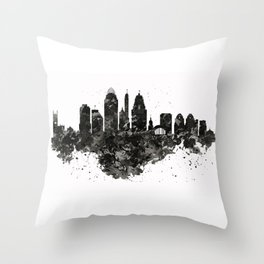 Cincinnati Skyline Black and White Throw Pillow