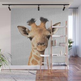 Baby Giraffe - Colorful Wall Mural