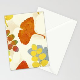leaves pattern painterly gingko nature warm tones Stationery Cards