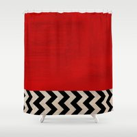twin peaks Shower Curtains featuring Twin Peaks - Red Room by ShaMiLa