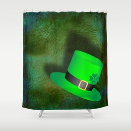 A Leprechauns Hat on a textured green background Shower Curtain