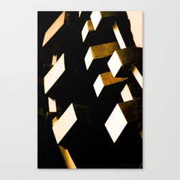 Rose Gold Bronze Abstract Geometric Mechanical Gears Canvas Print