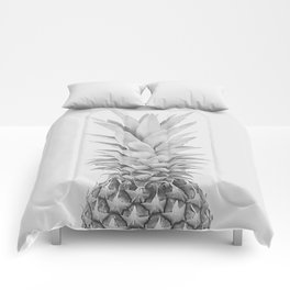 Pineapple a Day - black and white Comforters