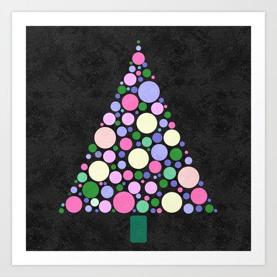 Christmas Tree Marble Art Print