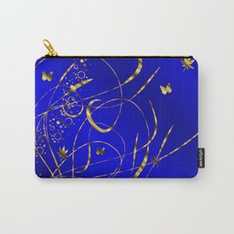 blue festive shiny metal pattern with small butterflies, Asian flowers and drops of water Carry-All Pouch
