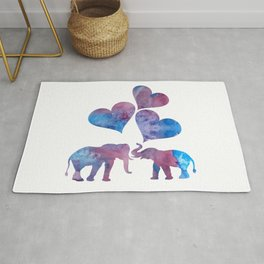 Elephants art Rug