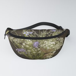 Still life with wildflowers and butterflies Fanny Pack