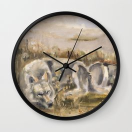 Totem wolf (Sunset) Wall Clock