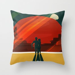 Vintage Adventure Travel Phobos and Deimos Throw Pillow