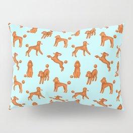 Red Poodles Pattern (Light Blue Background) Pillow Sham