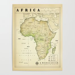 Africa and Madagascar [Vintage Inspired] Map print Poster