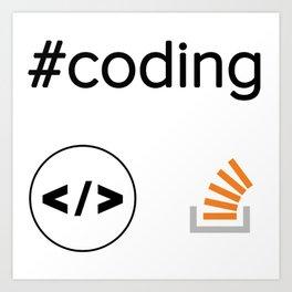 3 stackoverflow coding brackerts developer stickers programming Art Print