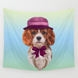 Drawing dog breed Cavalier King Charles Spaniel Wall Tapestry