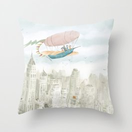 Dirigible over NY city Throw Pillow