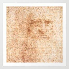 Brick Wall Painting Leonardo da Vinci by Leonardo da Vinci Urban Artist Art Print
