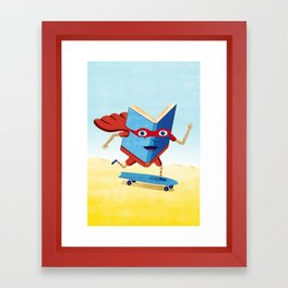 bookhero ride skateboard Framed Art Print
