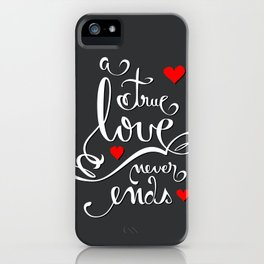 Valentine Love Calligraphy and Hearts V2 iPhone Case