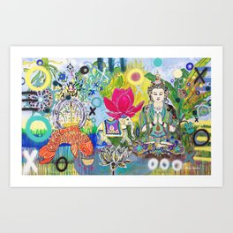Green Tara in Paradise Art Print