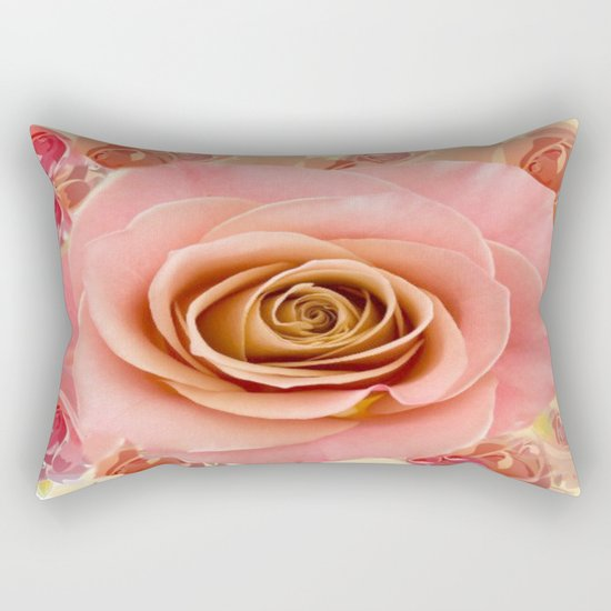 Peach Rose Garden Rectangular Pillow