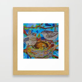 Two Birds In Colorful Nest With Quotes About Wrens Framed Art Print