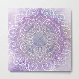 paisley wheel play in light purple Metal Print