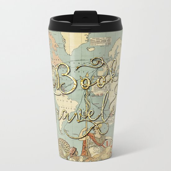 Book Traveler Vintage Map v3 Metal Travel Mug
