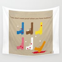 tarantino Wall Tapestries featuring No069 My Reservoir Dogs minimal movie poster by Chungkong