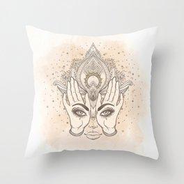 Peach & Gold Boho Lotus Throw Pillow