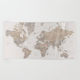 World map with cities in brown and light gray Beach Towel