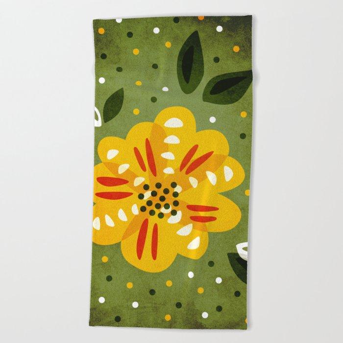 Abstract Yellow Primrose Flower Beach Towel