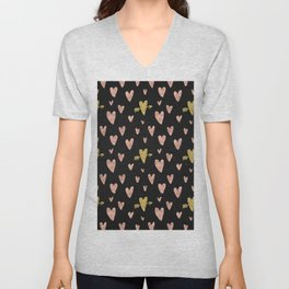 Rose Gold Hearts with Yellow Gold Hearts on Black Unisex V-Neck