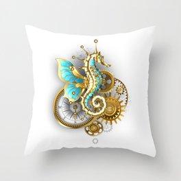 Mechanical Seahorse Throw Pillow