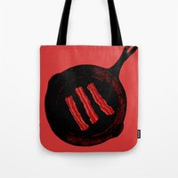 bacon Tote Bags featuring Bacon by ekirkdesign