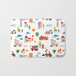 Watercolor Busy City Roads Pattern Bath Mat