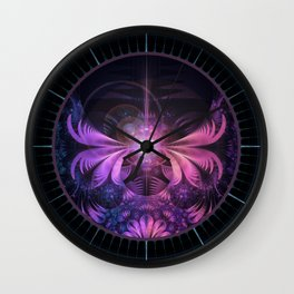 A Glowmoth of Resplendent Violet Feathered Wings Wall Clock