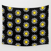 daisies Wall Tapestries featuring Daisies  by Libbie Bischoff