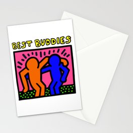 """Keith Haring inspired """"Best Buddies"""" Complementary Color O&B edition Stationery Cards"""