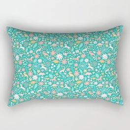 Dinosaurs + Unicorns on Teal Rectangular Pillow