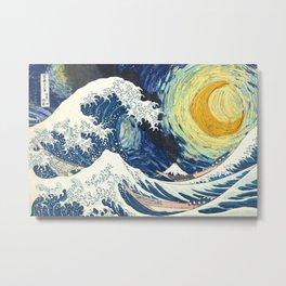 Starry Night Over The Great Wave Off Kanagawa Van Gogh/Hokusai Metal Print