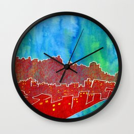 Blood Red City Wall Clock