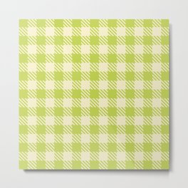 Plaid Pattern 513 Chartreuse and Yellow Metal Print